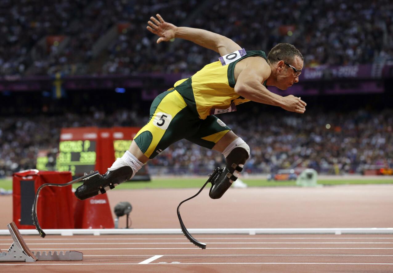 STERK: Oscar Pistorius på semifinale-startstreken på 400-meter under Sommer-OL i London i 2012. FOTO: NTB