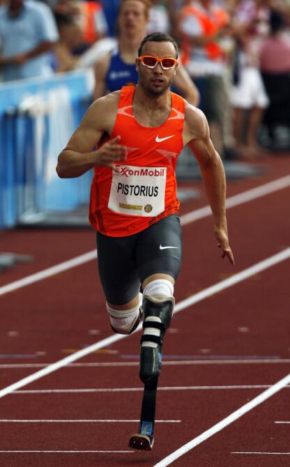 I NORGE: Sommeren 2009 deltok Oscar Pistorius på Bislett Games i Oslo. Her i aksjon i Golden League 400 m B-finale. FOTO: Tor Richardsen / NTB