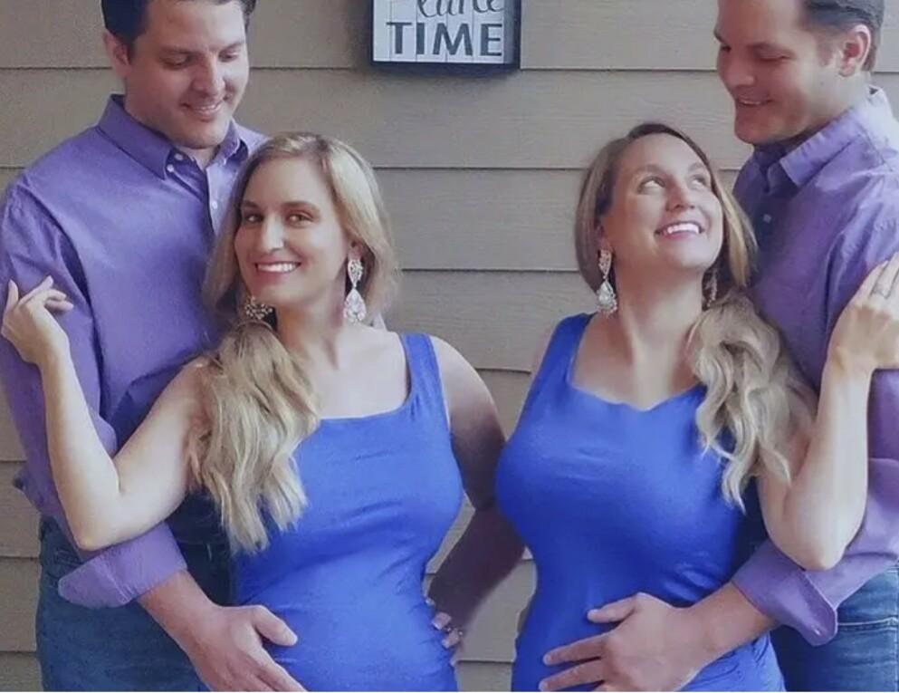 DOBBEL LYKKE: De eneggede tvillingene Brittany og Briana er gft med de eneggede tvillingene Jeremy og Josh. FOTO: Faksimile TLC