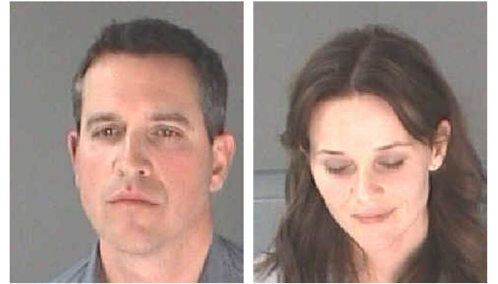 FLAU: Reese Witherspoon og mannen James Toth, på bildene som ble tatt av dem like etter arrestasjonen i Atlanta i 2013. FOTO: NTB