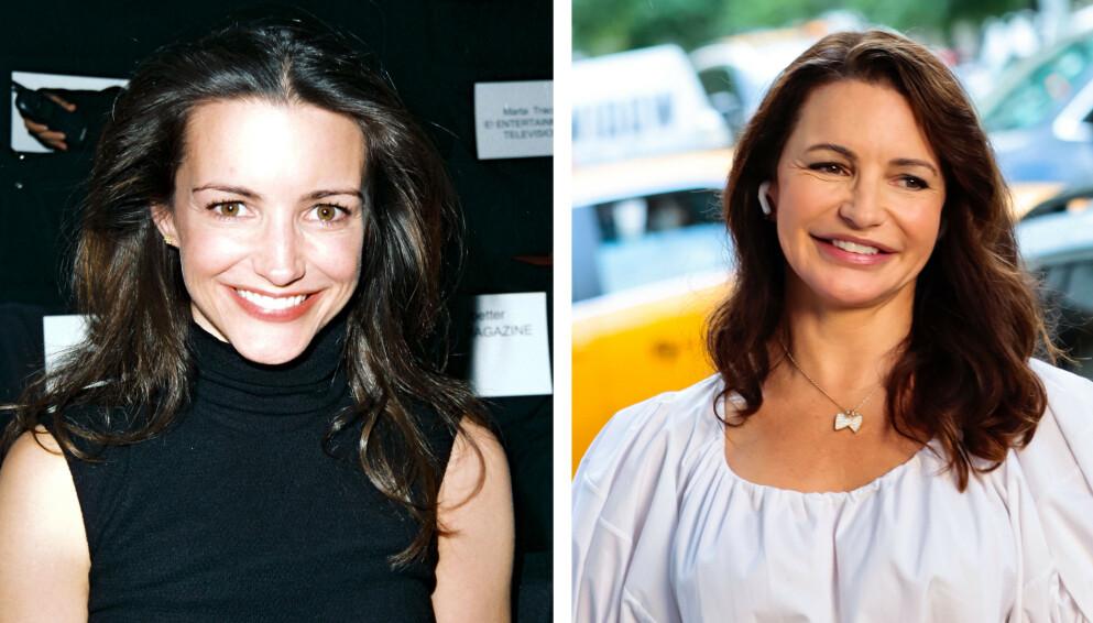 SEX OG SINGELLIV: 21 år skiller disse to bildene av skuespiller Kristin Davis. FOTO: NTB