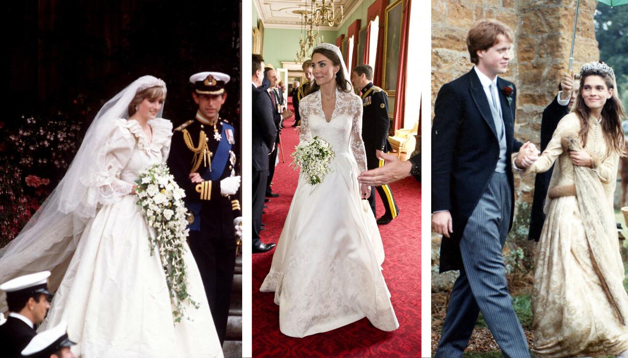 INSPIRASJON: Det er ingen tvil om at Kitty Spencer har hentet inspirasjon i brudekjolene til tante Diana, moren Victoria og fetter Williams kone hertuginne Kate. FOTO: NTB