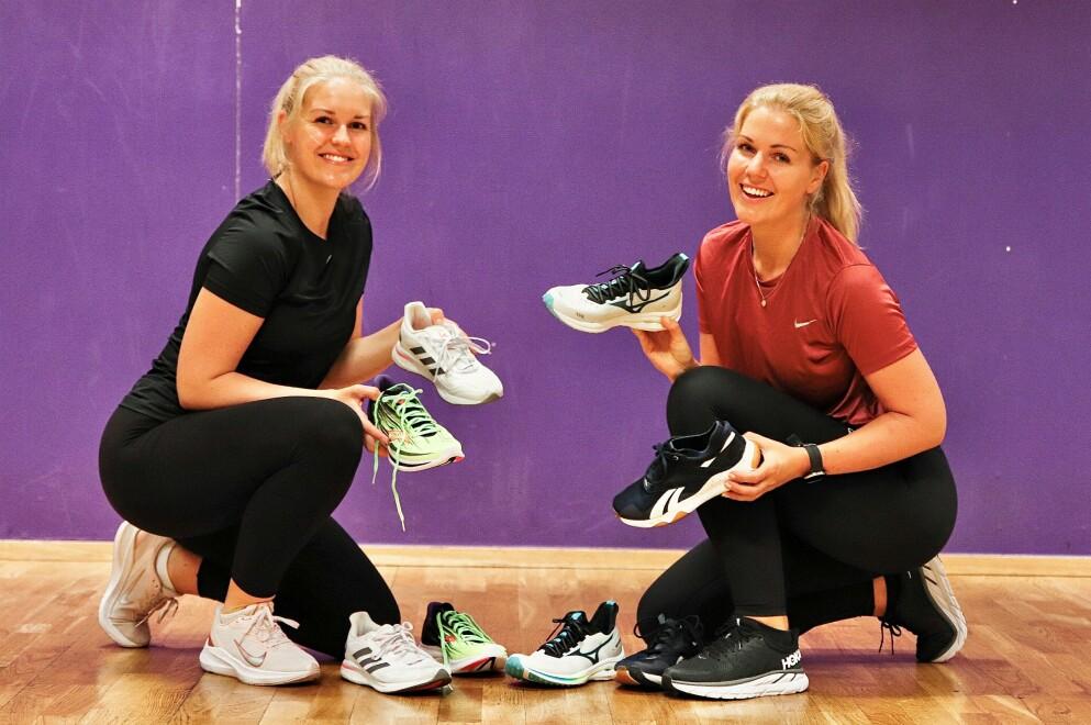TEST AV TRENINGSSKO: Thea Bergersen og Ida Bergersen har testet seks ulike skopar, til ulike saltimer innendørs, for å se hvilke par som er de beste til cardiotrening. Foto: Charlotte Spenning