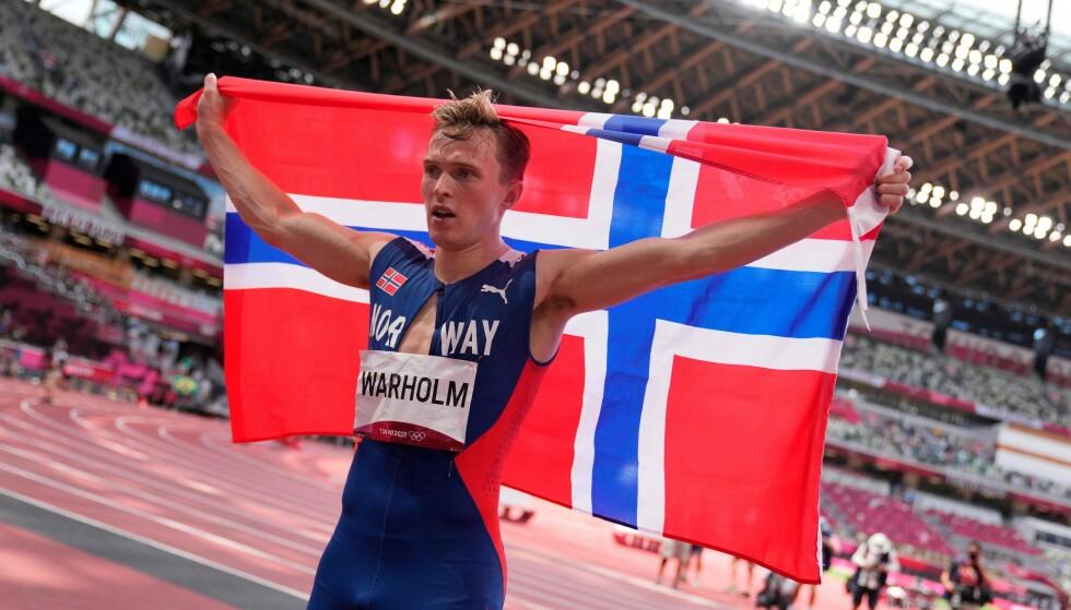 KARSTEN WARHOLM: Gullgutten Karsten Warholm slo verdensrekorden og tok gull under 400 meter hekk i Tokyo 3. august 2021! FOTO: NTB