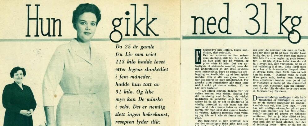 """SLANKEKUR: I magasinet """"Alle kvinners blad"""" fra 1958 kunne leserne lese om """"Fru Liv"""", som da hadde gått ned 31 kilo på fem måneder. Dietten hun fulgte, lenge før man visste hva kaloritelling, lavkarbo eller 5:2-dietten var, ville fungert like godt i dag, sier legene. Foto: Alle kvinners blad (skjermdump)"""