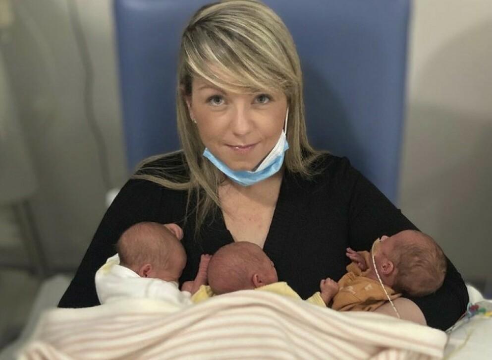 BRÅ VENDING: Livet endret retning da Jessica fødte fire barn på ett år. FOTO: Skjermdump Instagram @tripletmum_plus2girls