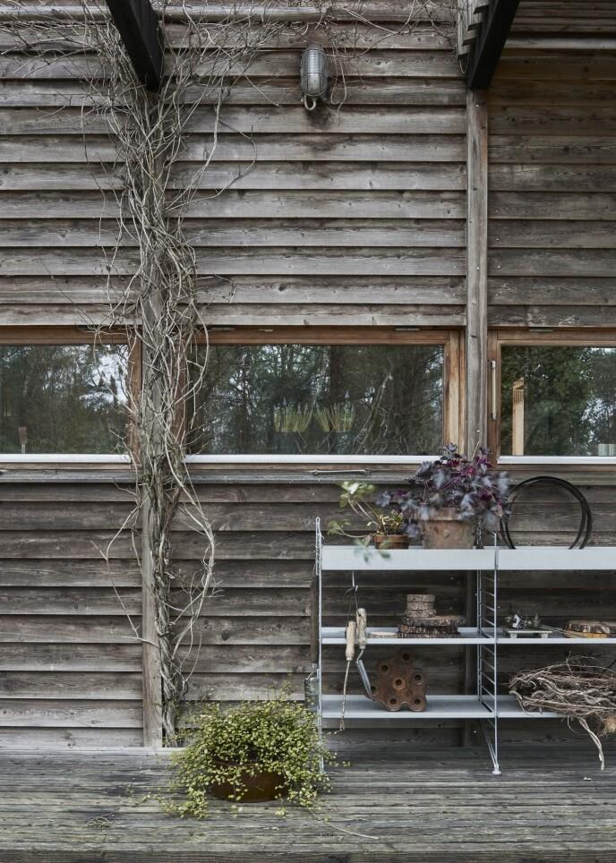 Mot fasaden utendørs er det plassert en «String Outdoor»- hylle. Den tåler regn og ruskevær og kan stå ute hele året.
