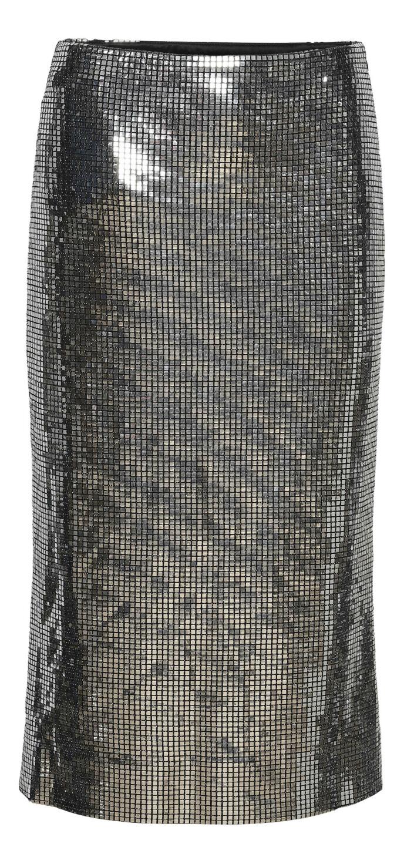 Sølvskjørt (kr 2325, Custommade).