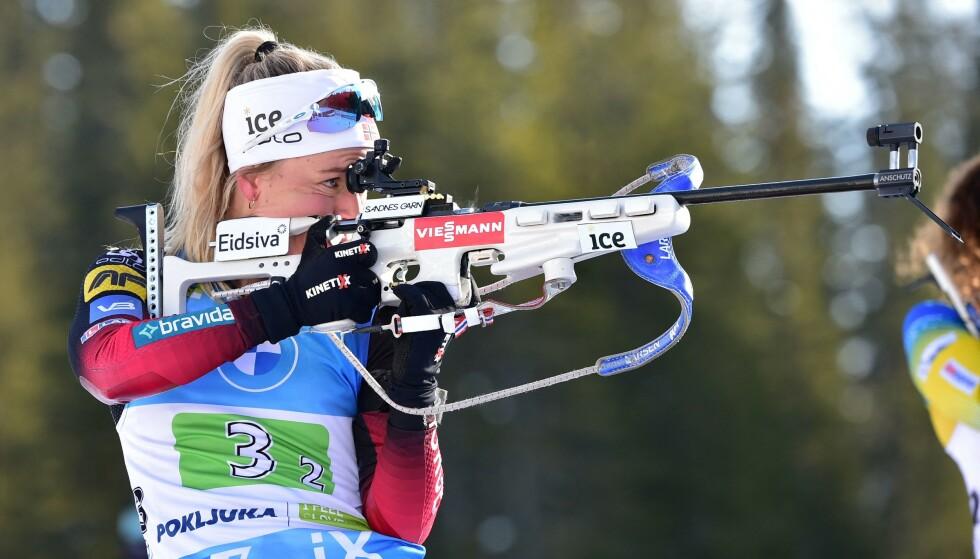KONSENTRERT: Tiril Eckhoff under verdenscupen i Slovenia i februar 2021. FOTO: NTB