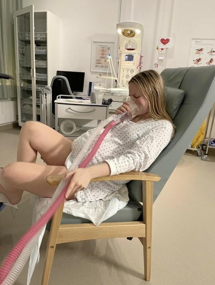 Fødselen ble 11 timer lang og smerter er ifølge Tuva ubeskrivelig. Foto: Privat