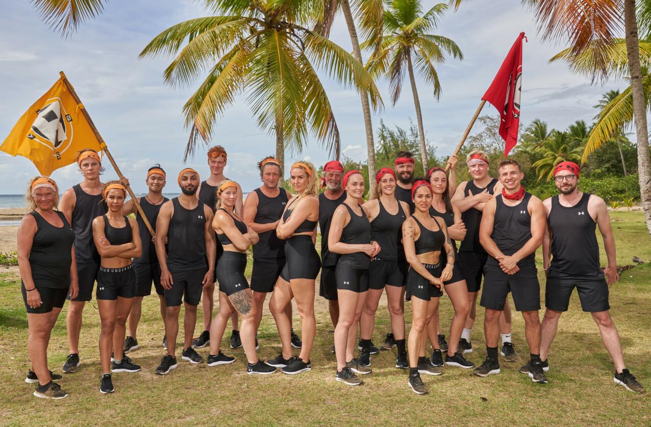 DELTAKERNE: Dette er årets gjeng som skal overleve seks uker på en øde øy - uten mat, lite søvn og knallharde konkurranser. FOTO: TV3 //Viaplay