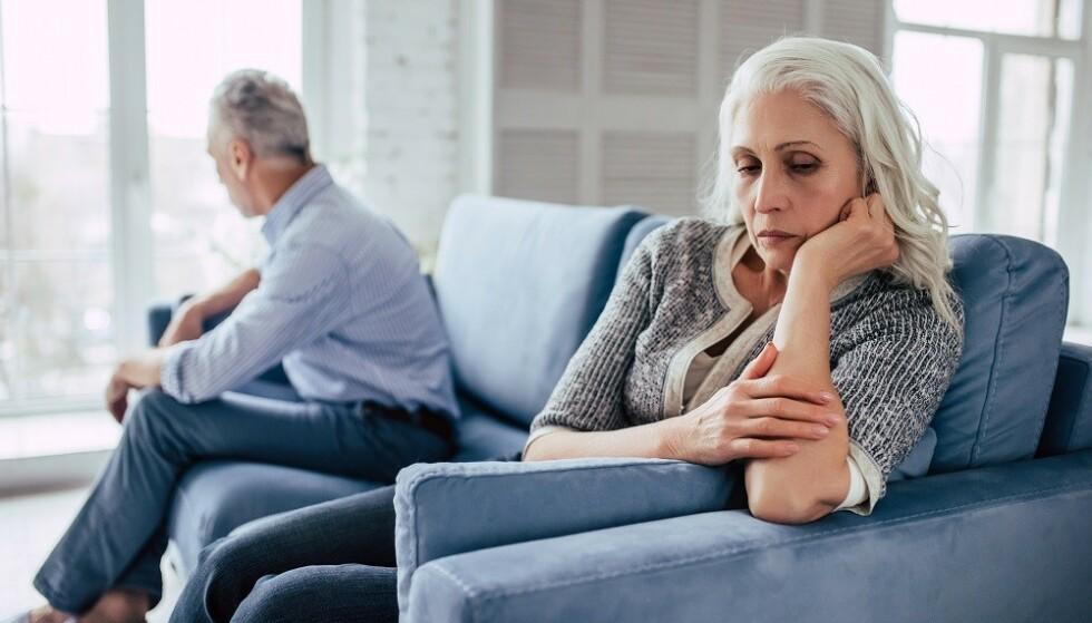 GREY DIVORCE: Skilsmissetallene blant par over 55 år har økt de siste tre tiårene. FOTO: NTB