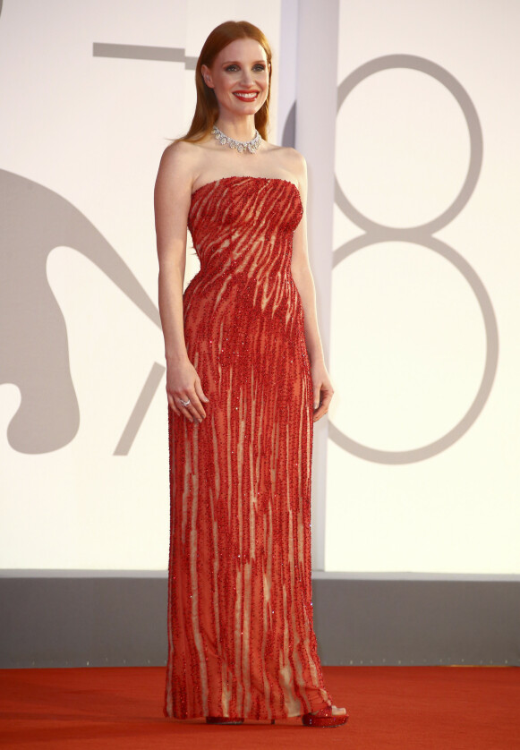 Jessica Chastain i Atelier Versace. FOTO: NTB