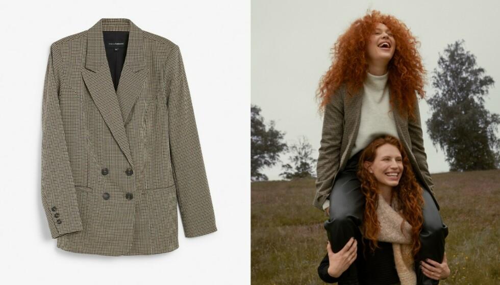Trendy: Herreinspirerte blazere er i vinden om dagen (kr 699). Ekstra stilig sammen med bukser i imitert skinn (kr 499).