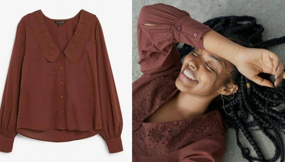 Burgunder: Deilig høstfarge det er lett å forelske seg i, og er den samme som den lyse blusen. Kr 299.