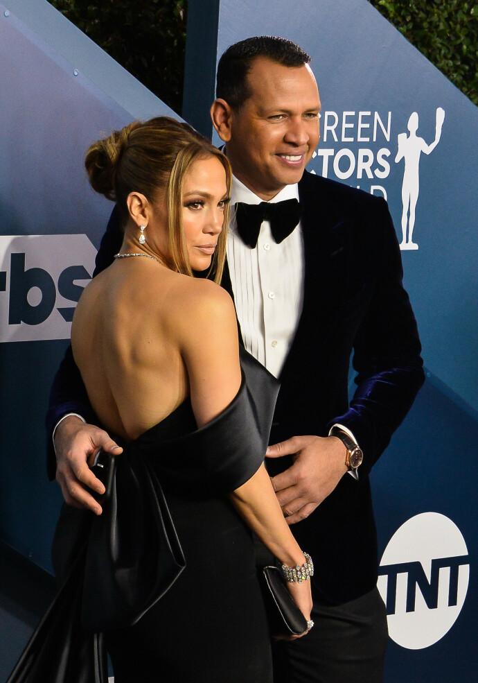 KORT LYKKE: Jennifer Lopez og Alex Rodriguez under Screen Actors Guild Awards i 2020. FOTO: NTB