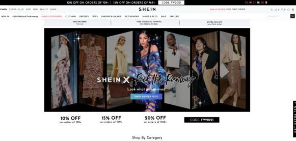 HELDIGITALT: Shein har ingen fysiske butikker, men tar likevel opp kampen mot andre fast fashion-giganter slik som H&M og Zara. FOTO: SKJERMDUMP