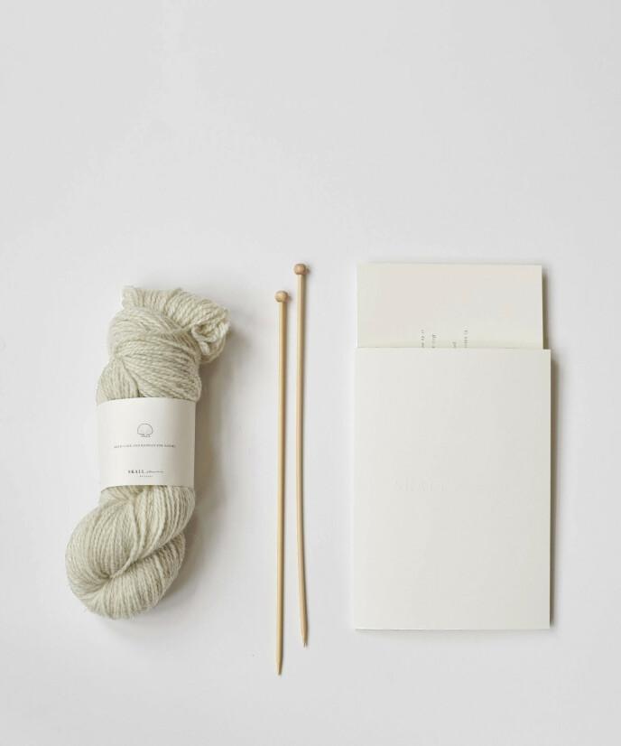 Kanskje jeg knekker koden med dette strikkekittet? Strikkeoppskrift og sju garnnøster (kr 1000, Skall Studio).