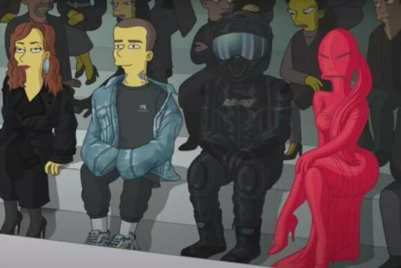 FØRSTE RAD: Kanye West og Kim Kardashian (t.h) som tegnede kjendiser i spesialepisoden av The Simpsons. FOTO: NTB