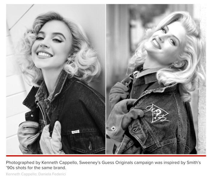 FAKSIMILE: Ifølge Page Six gjenskaper skuespiller Sydney Sweeney flere av Anna Nicole Smiths Jeans-øyeblikkk i den nye Guess-kampanjen FOTO:Faksimile Page six/Guess//Kenneth Cappello, Daniela Federici
