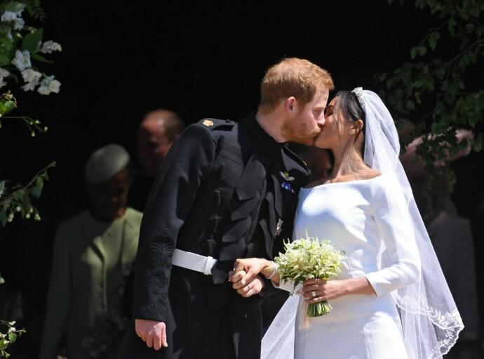 GIFT: Prins Harry og Meghan Markle giftet seg i mai may 19, 2018, og fikk titlene hertug og hertuginne av Sussex. FOTO: NTB