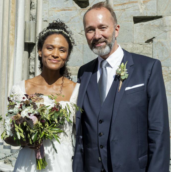 BRYLLUP: Sommeren 2019 giftet Haddy Njie og Trond Giske seg i Nidarosdomen i Trondheim. FOTO: Ned Alley / NTB